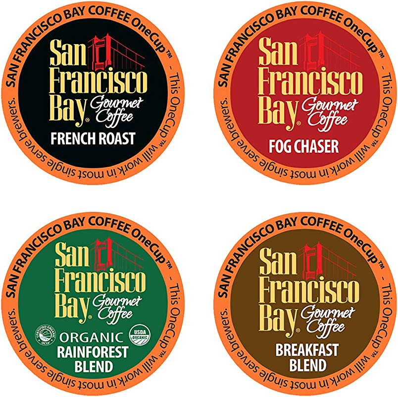 San Francisco Bay OneCup Variety Pack Single Serve Coffee K Cup Pods 80 Count French Roast Fog Chaser Rainforest Breakfast Blend Keurig Compatible
