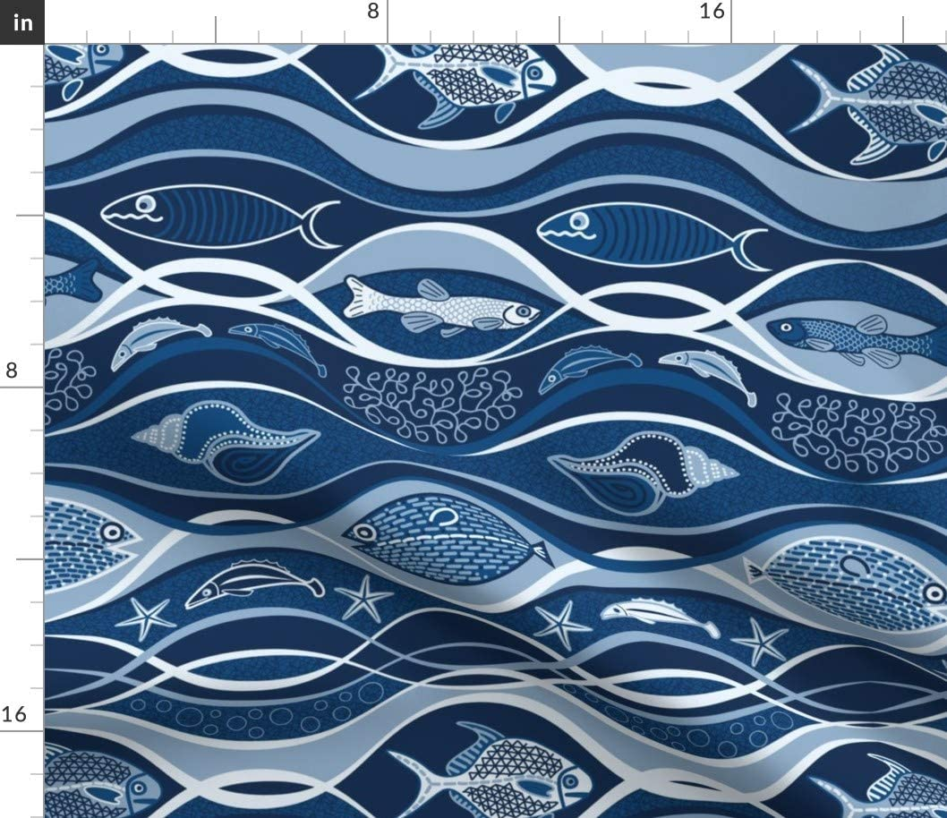 Spoonflower Fabric Fort Worth Mall - Ocean Life Classic Choice Waves Abst Blue Sea Fish