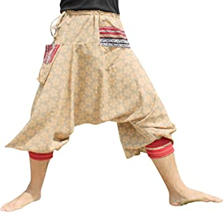 RaanPahMuang Japanese Formal Edo Courtesan Pants with Tied Cuffs and Woven Patches