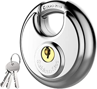 Puroma Keyed Packlock, Stainless Steel Discus Lock with 3/8-Inch Shackle for Sheds, Storage Unit, Garages and Fence