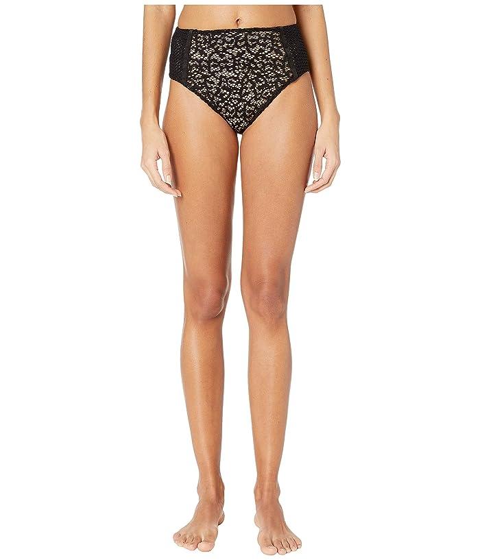 Jonathan Simkhai Lace Combo High-Waisted Bikini Bottoms (Black) Women