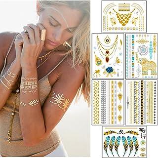 Sungpunet 15 Sheet Metallic Temporary Tattoos - 300+ Shimmer Design Tattoo Gold,Sliver and Black - Flowers, Elephants,Cros...