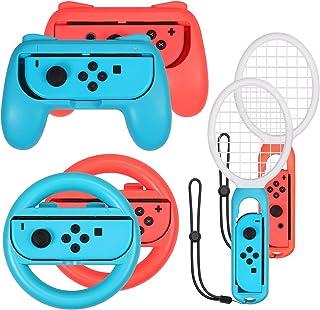 comprar comparacion AUTOUTLET 3 en 1 Accesorios para Nintendo Switch, Grip y Raqueta de Tenis, Juego de Accesorios del Volante, Empuñadura, pa...