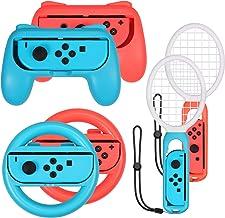 AUTOUTLET 3 en 1 Grip y raqueta de tenis Juego de accesorios del volante for el juego de Mario Tennis Aces, Nintendo equipo de juego empuñadura del controlador del interruptor Switch Joy-Con