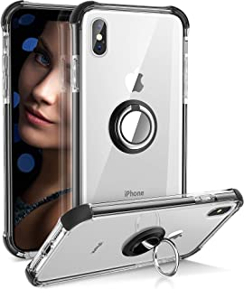 iPhone Xs Case, Daupin Clear iPhone X Case with 360 Rotatable Ring Holder Soft TPU Bumper PC Hard Back Shock Absorption Drop Protective Phone Case for iPhone Xs/X 5.8 inch (Black)
