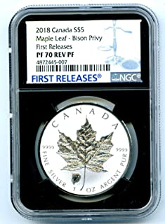 2018 Canada Coin Canadian Silver Maple Leaf Reverse Proof BISON BUFFALO Privy FIRST RELEASES $5 PF70 NGC