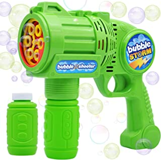 JOYIN Bubble Gun Blaster Automatic Bubble Maker Blower Machine with 2 Bottles Bubble Solutions for Kids, Bubble Blower for...