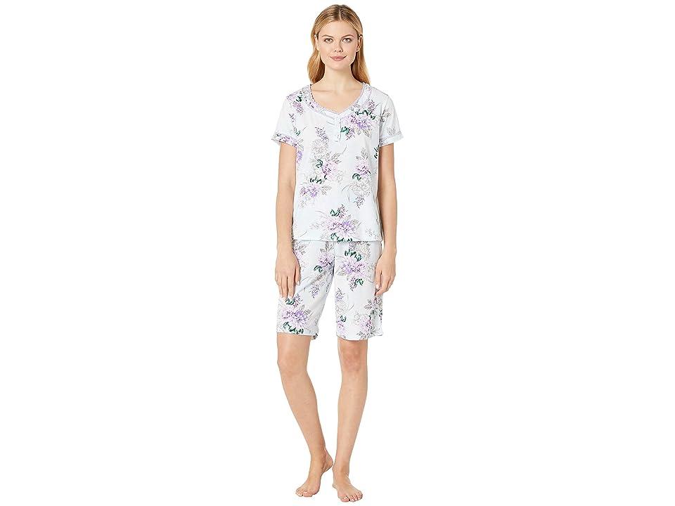 Karen Neuburger Seranade Short Sleeve Bermuda PJ (Floral/Ice Blue) Women
