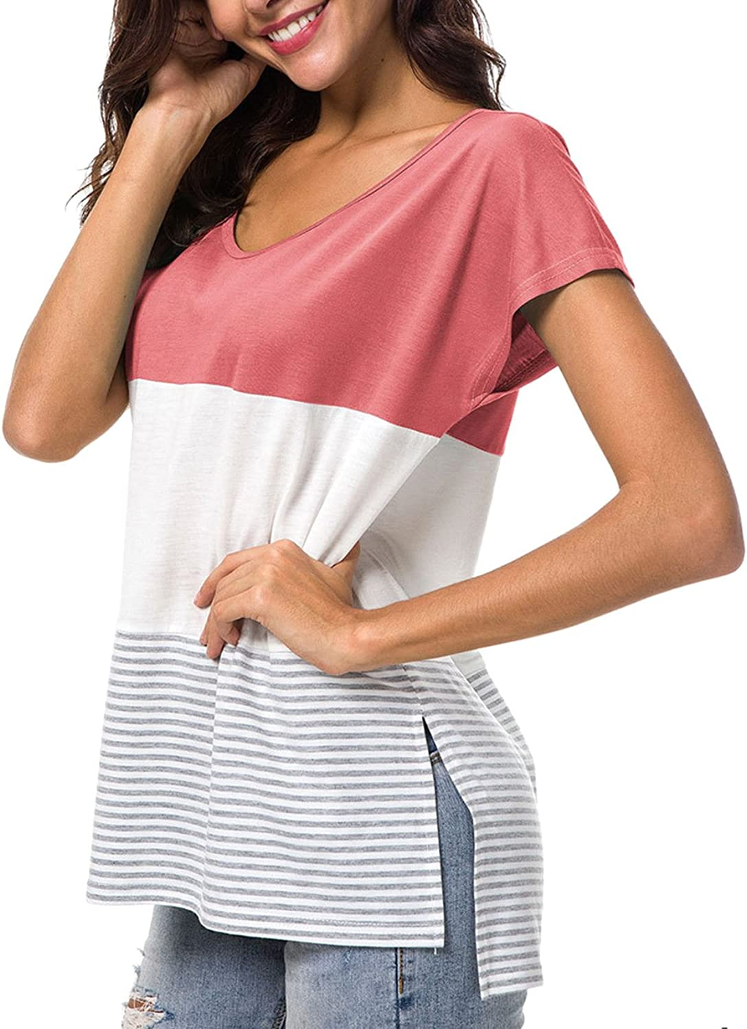 Defal Women's Summer Short Sleeve color Block Striped TShirt Casual Loose Juniors Tunic Top with Side Split for Leggings