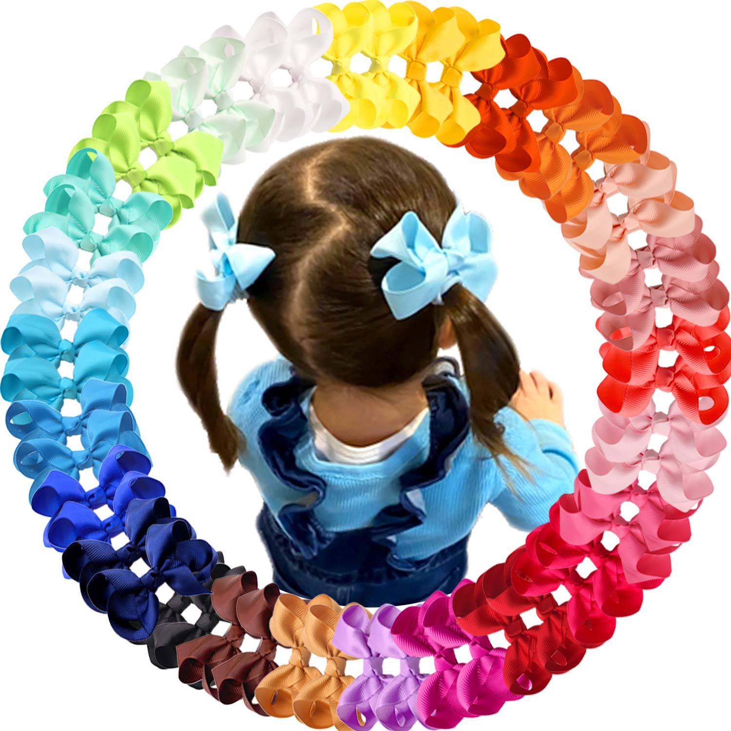 JOYOYO 50 Pieces Baby Girls Hair Bows Clips Pigtail Bows Hair Barrettes Accessory for Babies Infant Toddlers Kids 25 Colors in Pairs
