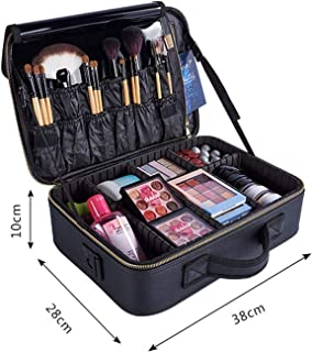 PU Partition Makeup Organizer Crossbody Makeup Bags Tote Toiletry Cosmetic Bag Multilayer Storage Box Portable Pretty Suitcase,M