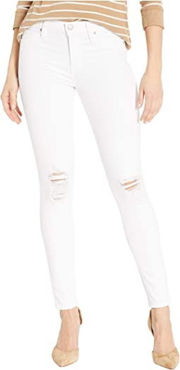 Nico Mid-Rise Ankle Skinny Jeans in White Rapids
