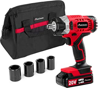 "20V MAX Cordless Impact Wrench with 1/2"" Chuck, Max Torque 230N.m, 4Pcs Driver Impact Sockets, Tool Bag and 1.5A Li-ion Battery, Avid Power MCIW326"