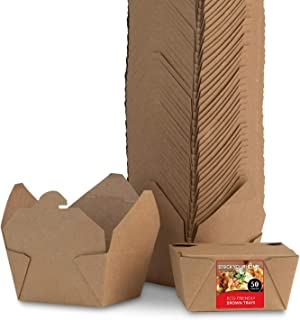 Take Out Food Containers Microwaveable Kraft Brown Take Out Boxes 30 oz (50 Pack) Leak and Grease Resistant Food Containers - Recyclable Lunch Box - To Go Containers for Restaurant, Catering and Party