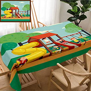 Unique Custom Design Cotton And Linen Blend Tablecloth Group Of Kids Playing Game On A Town Public Park Playground With Swings Slides Tube And House Happy Tablecovers For Rectangle Tables, 78