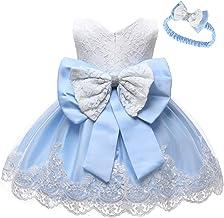 LZH Vestido de Encaje para Niñas Bebés Vestidos de Fores de Bowknot Concurso de Bodas Bautizo Bautizo Vestido de Tutú 0-24 Meses