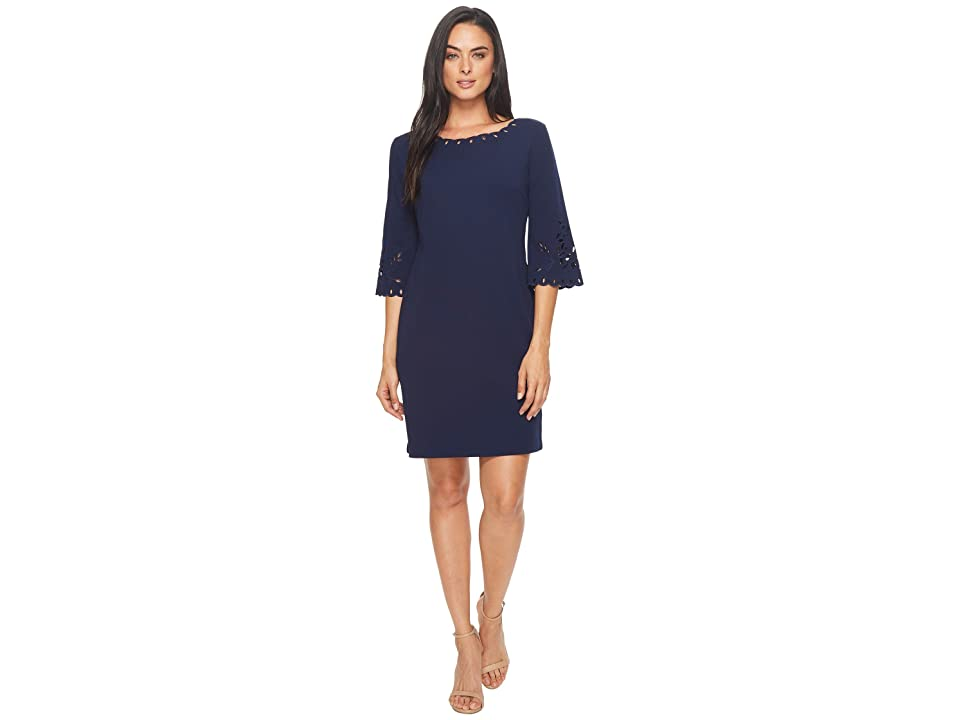 Sangria Shift Dress w/ Laser Cut Out Detail (Navy) Women