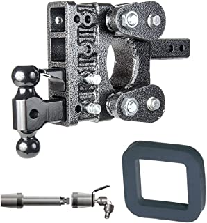GEN-Y Hitch GH-224 Heavy Duty 2 Receiver 5 Adjustable Drop Hitch 16K Towing w// 2 Silencer Pad /& 5//8 Receiver Lock Bundle for Dodge//Jeep//Ram Keys