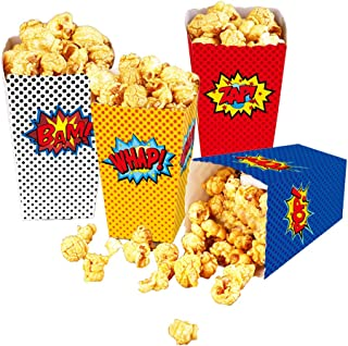 24 Pcs Superhero Party Supplies Favors Superhero Party Popcorn Boxes Cardboard Candy Container for Birthday Theater Themed...