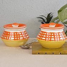 StyleMyWay Handpainted & Handcrafted Ceramic Handi Set with Lid -700ml (Orange) | Dahi Handi | Serving Handi | Biryani Handi