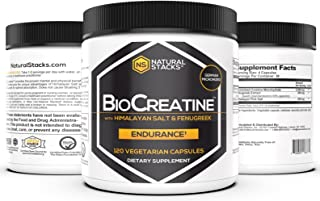 Natural Stacks BioCreatine Supplement 120ct - 2,500mg Ultra Micronized Creatine Capsules - Himalayan Pink Salt and Fenugre...