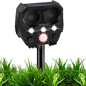 Ultrasonic Dog Chaser, Solar Animal Deterrent with Motion Sensor and Flashing Lights, Outdoor Waterproof Farm Garden Yard, Dogs, Cats, Birds, Squirrels, Moles