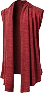 Mens Sleeveless Draped Open Front Shawl Collar Knitted...