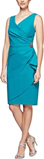 Women's Slimming Short Ruched Dress with Ruffle Skirt (Petite and Regular Sizes)