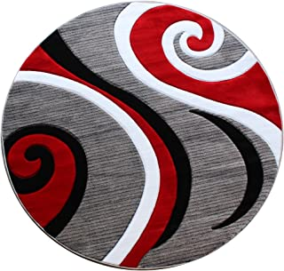 Masada Rugs Sophia Collection Hand Carved Round Area Rug Modern Contemporary Red Grey White Black (4 Feet X 4 Feet) Round