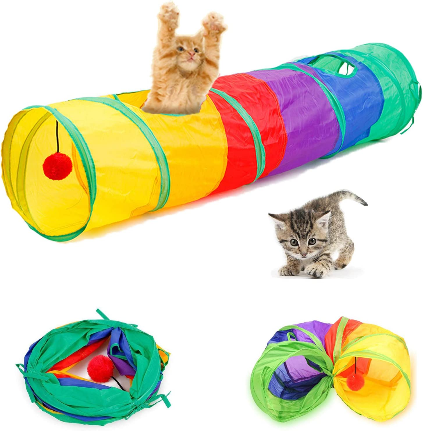 Collapsible Rainbow Cat Tunnel Special price for a limited time sale with Play Indoor for I Ball Cats