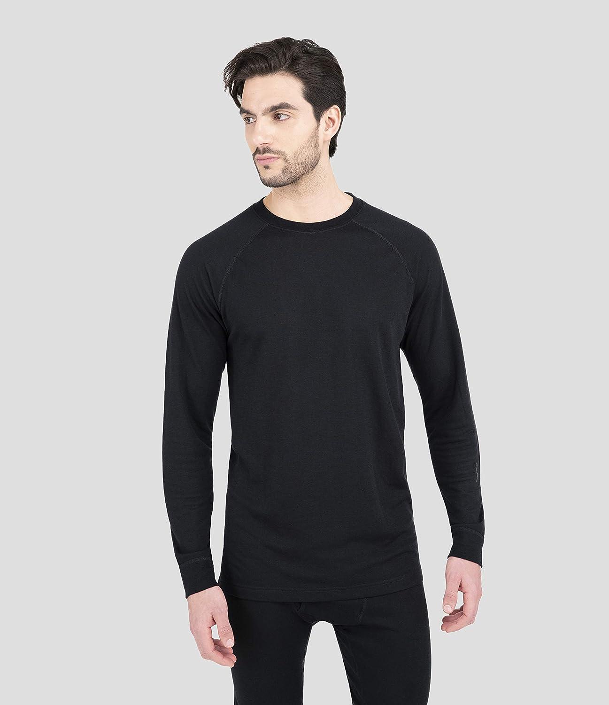 Terramar Sports Mens 2-Layer Authentic Thermal Crew Shirt, Black, S
