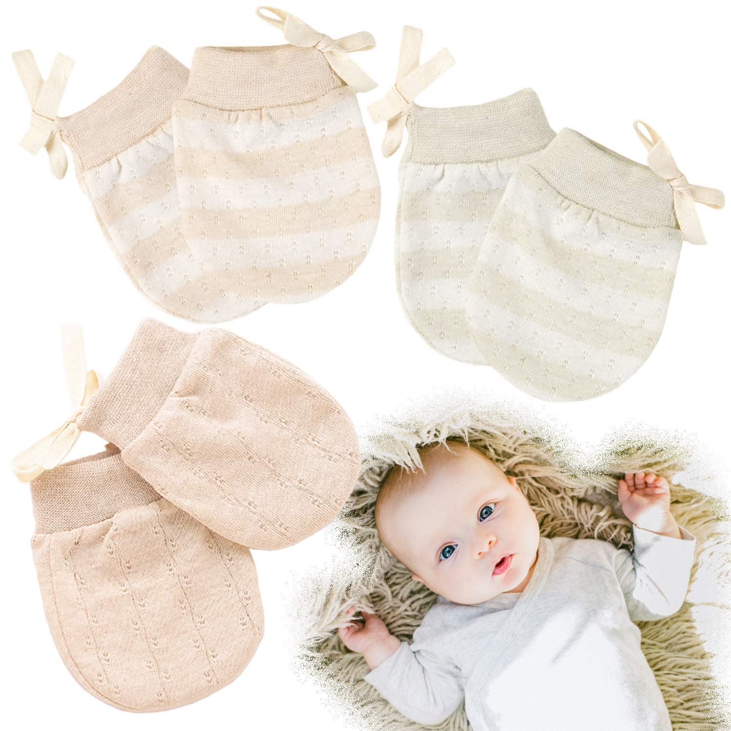 0-3M Cotton Newborn Baby Anti Scratching Gloves Protection Face Scratch Mittens