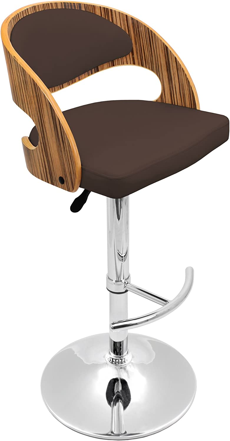 LumiSource Pino Barstool, Zebra Wood and Brown