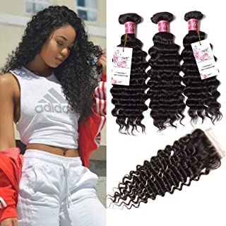 UNice Hair Icenu Series Peruvian Deep Wave Virgin Hair 4x4 Lace Closure with Bundles Real Human Hair Weft Extensions Natural Color 95-100g/piece (12 14 16+10Closure)