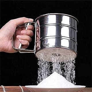 RUWALY Stainless Steel Mesh Flour Sifter DIY Manual Baking Icing Sugar Shaker Sieve Cup