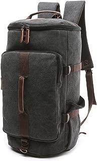 BAOSHA HB-26 Canvas Men Weekend Travel Duffel Bag Backpack Hiking Rucksack(Black)