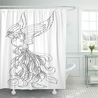 Semtomn Shower Curtain Phoenix Fire Bird Outline and Doodle Tattoo Japanese Chinese Shower Curtains Sets with 12 Hooks 72 x 78 Inches Waterproof Polyester Fabric