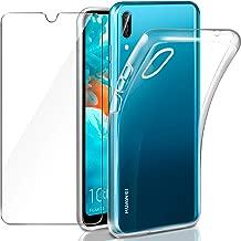 """Leathlux Cover Huawei Y6 2019 Custodia + Pellicola Vetro Temperato, Morbido Trasparente Silicone Custodie Protettivo TPU Gel Sottile Cover per Huawei Y6 PRO 2019 / Y6 2019 6.09"""""""