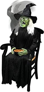 4.5 Ft Sitting Scare Witch Animatronics - Decorations