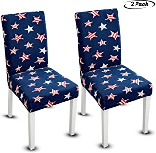 American Flag Stretchable Elastic Dining Chair Slip Cover Decor 4th of July Memorial Labor Day Party Decorations Dining Room Washable Removable Patriotic Americana Stars Stripes, 2-Pack