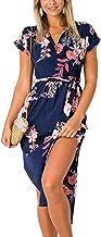 ECOWISH - Vestido de verano casual con cuello en V estampado floral geométrico con cinturón