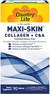 Country Life Tri-Layer Maxi-Skin Collagen Plus C&A - 90 Tablets - Enhance Elasticity - Reduce Depth of Wrinkles