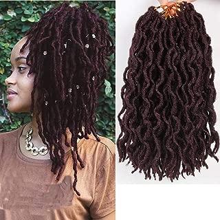 LEEONS 12inch 6Packs/Lot Nu Locs Boho Locs Curly Faux Locs Soft Hair Twist Braids Pre-loop Crochet Braiding Hair Dreadlocks Hair Extension 20Roots/Pack (12inch, 99J)