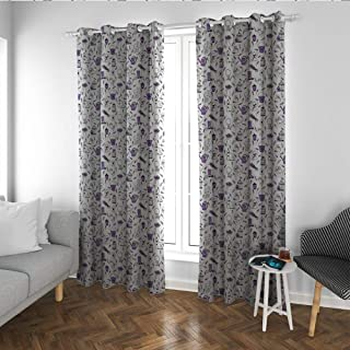 Linhomedecor Birdcage Bedroom Curtain Holdback Pattern with Lavender and Garden Accessories Floriculture Theme Microfiber Window Panel Pair Lavender White and Black