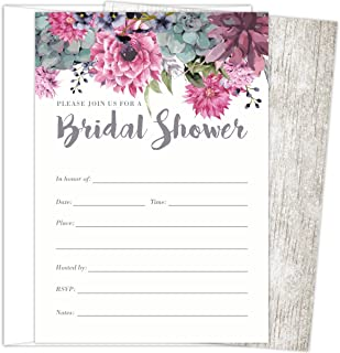 Koko Paper Co Bridal Shower Invitations Set of 25 Cards and Envelopes, Fill-In Style Vintage Rustic Design with Pink, Grey, Blue and Purple Watercolor Florals. Printed on Heavy 140lb Card Stock.
