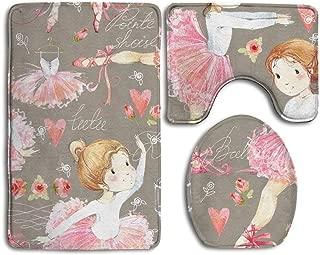 YICHIBAOEL Ballerina Seamless Pattern with Cute Girl Bathroom Rug 3 Piece Bath Mat Set Contour Rug and Lid Cover