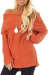 Women Off Shoulder Long Sleeve Fuzzy Pullover Popcorn Knit Sweater Tops