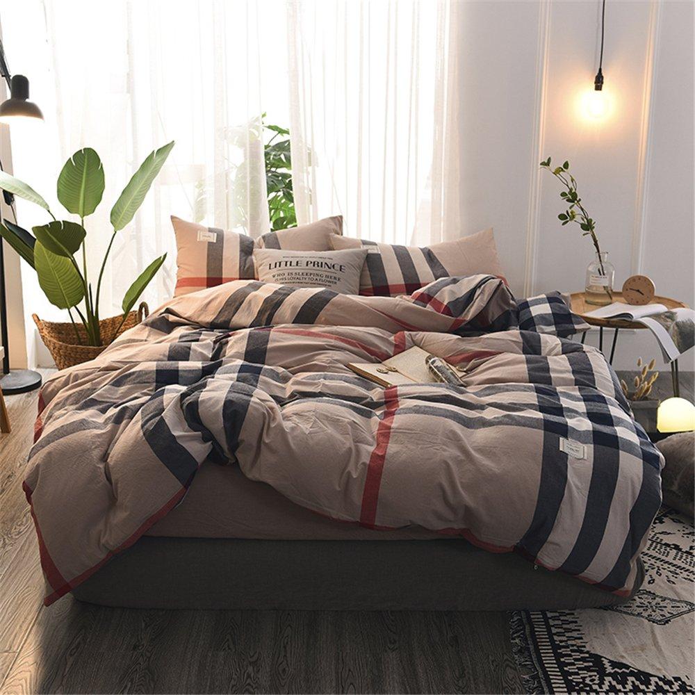 Sufengホームテキスタイル和風非印刷綿綿4枚ストライプのチェック柄コットン寝具セット、シンプルなシーツ、SF383 Ingren 1.5 mベッド掛け布団カバー200 * 230ベッド笠150 * 200枕カバー* 2