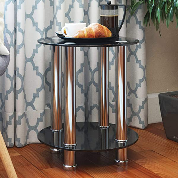 Ryan Rove Aster Round End Table Sofa Table Night Table With Tempered Glass Shelves Chrome Frame Black Glass