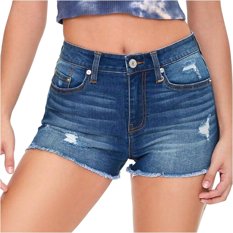 Bnaona Women High Waist Distressed Ripped Hole Stretch Junior Denim Solid Short Jeans